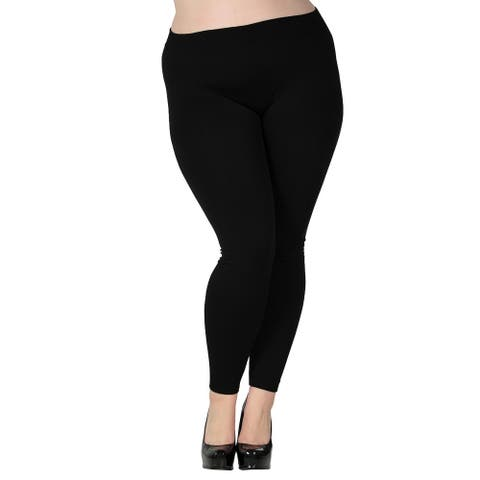 Women's Plus Size Fleece Lined Full Length Leggings - Black