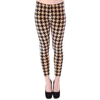 Women's Multi-Pattern Stretchy Full Length Leggings - Houndstooth Print