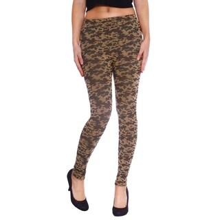 Women's Multi Print Stretch Fit Full Length Leggings - Camo Print (Green/Brown)