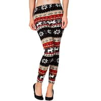 Women's Winter Holiday Print Multicolor Fashion Leggings - Reindeer/Snowflake
