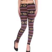 Women's Mid-Waist Full Length Winter Leggings - Fair Isle Knit Pattern