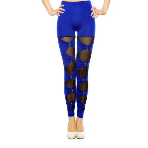Women's Blue Tie/Mesh Cutout Decorated Hi-Waist Fashion Leggings - Assorted Styles