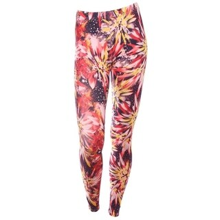 Women's Art Print Color Burst Hi-Waist Fashion Leggings - Red