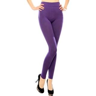 Women's's Ribbed Stripe Texture Full Length High-Waist Leggings - Purple