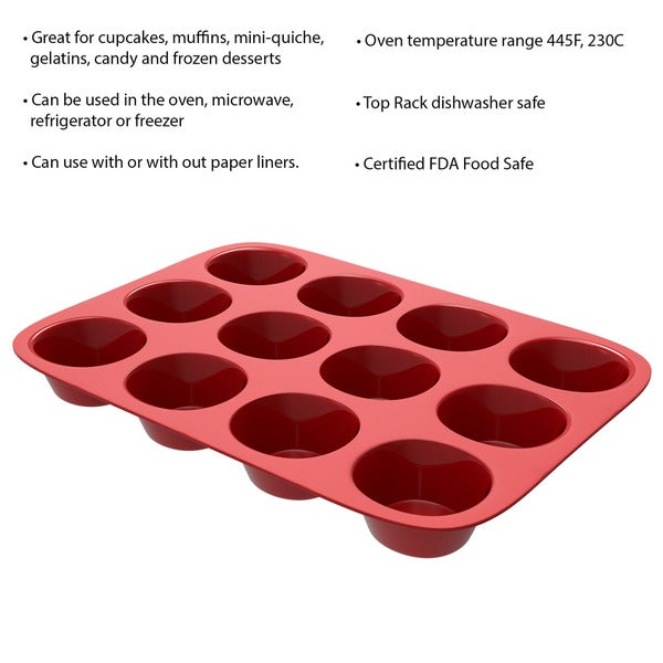 New Non-Stick Silicone Mini Muffin Baking Tray Dishwasher Freezer Oven Safe