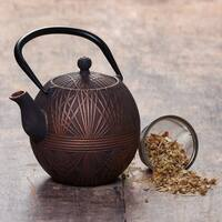 "Black/Copper Cast Iron  ""Otaru"" Teapot, 33 Oz."