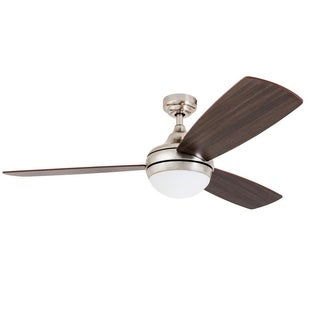 "52"" Calico LED Ceiling Fan with Remote Control, Brushed Nickel"