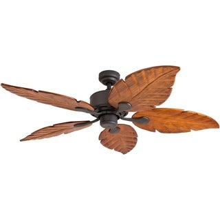 "52"" Prominence Home Willow View Ceiling Fan, Hand-Carved Wooden Blades, Bronze Finish"