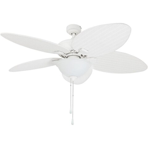 """52"""" Prominence Home Palm Valley Tropical LED Ceiling Fan, White"""