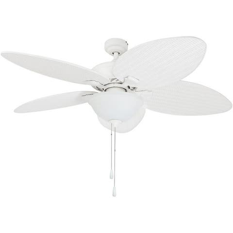 "52"" Prominence Home Palm Valley Tropical LED Ceiling Fan, White"