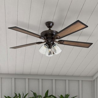 "52"" Prominence Home Glenmont Rustic Three Light, Edison Bulb, LED Ceiling Fan, Oil Rubbed Bronze"