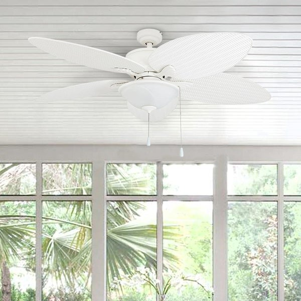 """52"""" Solana Outdoor LED Ceiling Fan, White - 52-inch. Opens flyout."""