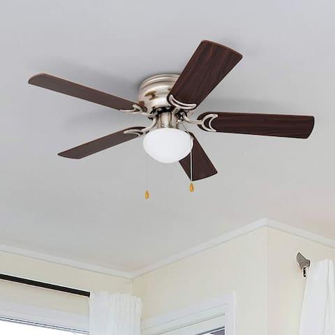 Prominence Home Alvina LED Hugger Ceiling Fan, Brushed Nickel Finish - 42-inch