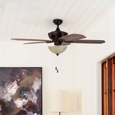 Prominence Home Spring Hollow Ceiling Fan, Reversible Fan Blades, Oil-Rubbed Bronze - 52-inch