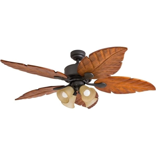 52 Prominence Home Royal Palm Tropical Four Light Led Ceiling Fan Remote Control