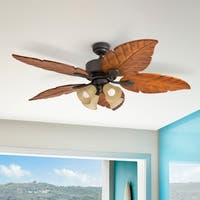 "52"" Prominence Home Royal Palm Tropical Four Light LED Ceiling Fan, Remote Control, Bronze"