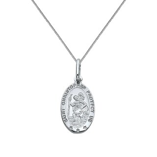 14k White Gold Saint Christopher Oval Pendant and Wheat Chain Necklace