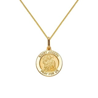 14k Yellow Gold Saint Joseph Medallion and Wheat Chain Necklace