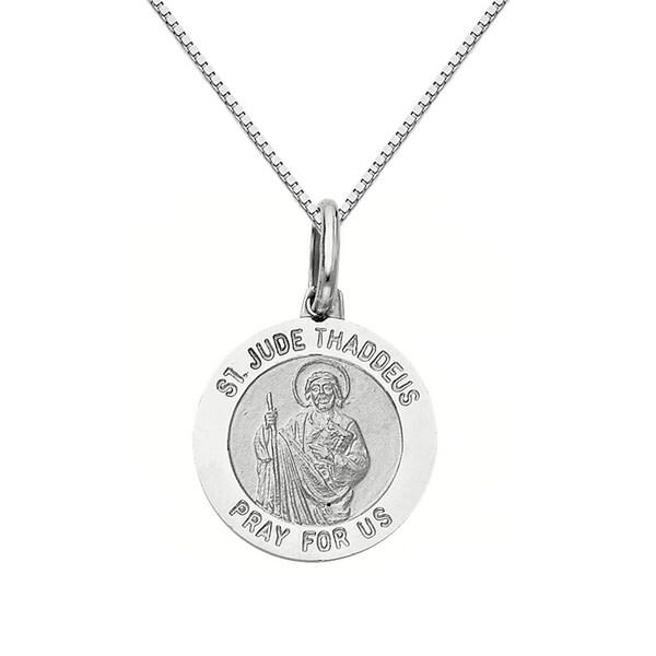 14k white gold saint jude thaddeus medallion and box chain necklace 14k white gold saint jude thaddeus medallion and box chain necklace mozeypictures Gallery
