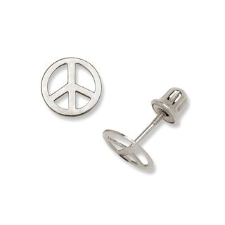 14K Gold Small Polished Peace-sign Stud Post Screw-back Earrings (Yellow or white)(7mm)