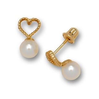14K Gold Small Freshwater Cultured Pearl Textured Heart Screw-back Earrings (Yellow or white)(5mm x 12mm)