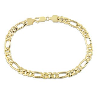 Miadora Signature Collection 10k Yellow Gold Men's Figaro Link Bracelet|https://ak1.ostkcdn.com/images/products/18220494/P24362091.jpg?impolicy=medium