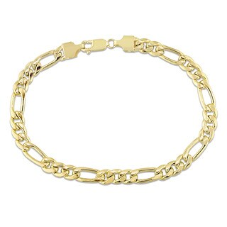 Miadora Signature Collection 10k Yellow Gold Men's Figaro Link Bracelet