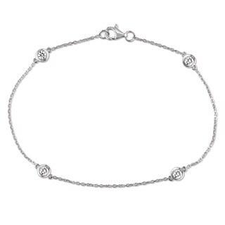 Miadora Signature Collection 14k White Gold 2/5ct TDW Diamond Station Bracelet