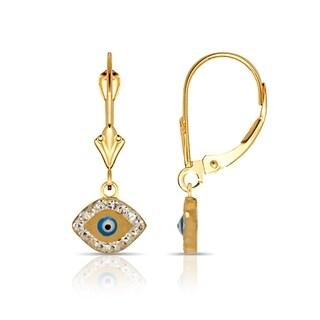 14K Gold Blue Enamel and Cubic Zirconia Oval Evil-Eye Drop Leverback Earrings (Yellow or white)(10mm x 26mm)