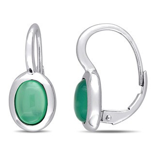 Miadora 10k White Gold Oval-Cut Green Chalcedony Leverback Earrings