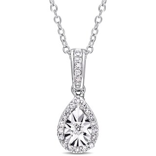 Miadora Sterling Silver 1/6ct TDW Diamond Teardrop Halo Dangle Necklace