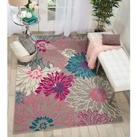 Nourison Passion Grey Floral Area Rug (8' x 10') - 8' X  10'