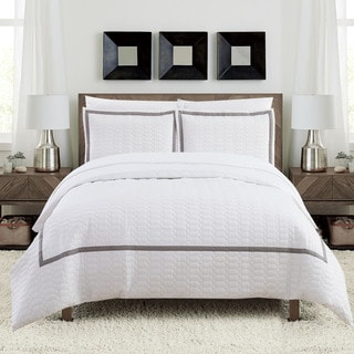 Chic Home Krystel Hotel Collection White Banded 3 Piece Duvet Cover Set