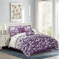 Sasha Floral Printed Comforter Set in Purple