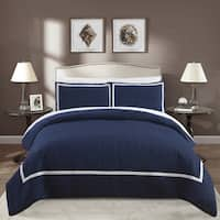 Chic Home Krystel Hotel Collection Navy Banded 3 Piece Duvet Cover Set