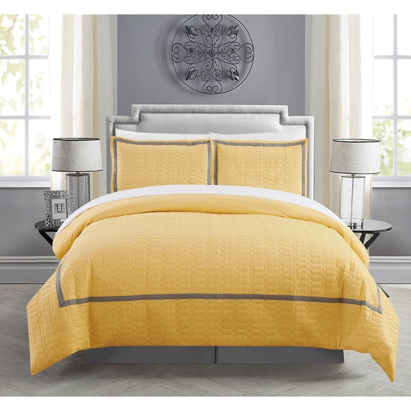Chic Home Krystel Hotel Collection Yellow Banded 3 Piece Duvet Cover Set