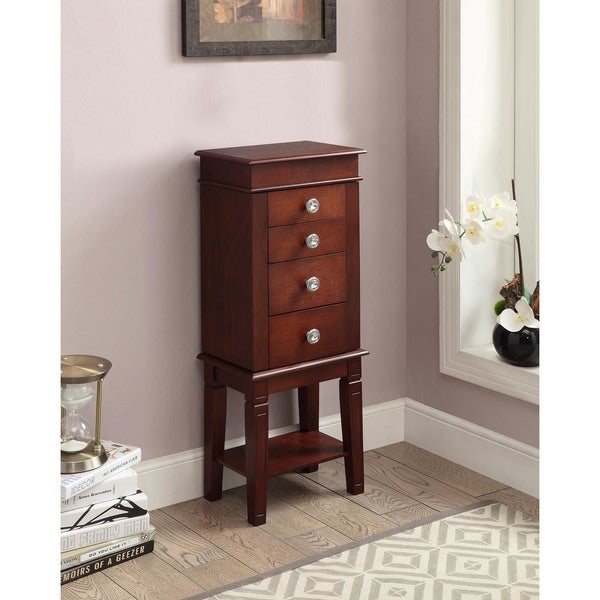 Shop Anne Dark Walnut Jewelry Armoire Free Shipping