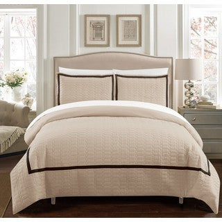 Chic Home Krystel Hotel Collection Beige Banded 3 Piece Duvet Cover Set