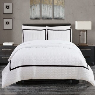 Chic Home Krystel Hotel Collection Black and White Banded Print Duvet Cover Set