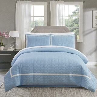 Chic Home Krystel Hotel Collection Blue Banded 3 Piece Duvet Cover Set