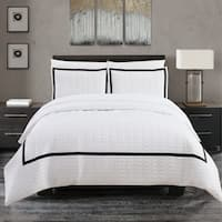 Chic Home Krystel Hotel Collection Black and White Banded Print Duvet Cover and Sheet Set
