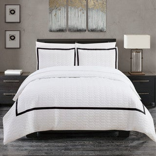 Chic Home Krystel Hotel Collection Black and White Banded Print Duvet Cover and Sheet Set (4 options available)