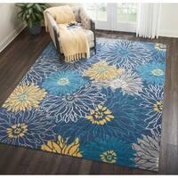 Nourison Passion Blue/Yellow Floral Area Rug - 3'9 x 5'9