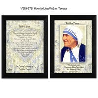 """How To Live"" Quotes by Mother Teresa Collection, Printed Wall Art, Ready To Hang Framed Poster, Black Frame"