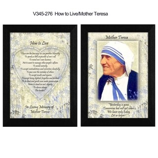 """""""How To Live"""" Quotes by Mother Teresa Collection, Printed Wall Art, Ready To Hang Framed Poster, Black Frame"""