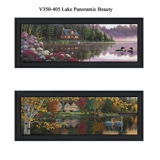 """Lake Panoramic Beauty"" Collection By Kim Norlien, Printed Wall Art, Ready To Hang Framed Poster, Black Frame"