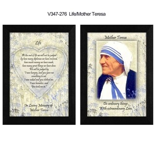 """""""Life"""" Quotes by Mother Teresa Collection, Printed Wall Art, Ready To Hang Framed Poster, Black Frame"""