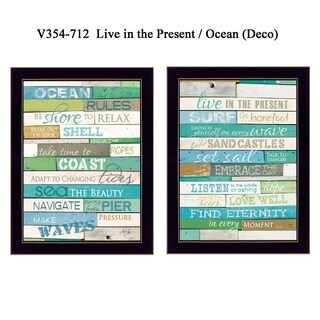 """""""Live in The Present"""" Collection By Marla Rae, Printed Wall Art, Ready To Hang Framed Poster, Black Frame"""