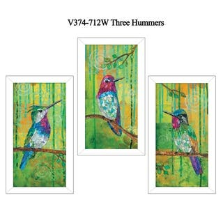 """""""Three Hummingbirds"""" Collection By Lisa Morales, Printed Wall Art, Ready To Hang Framed Poster, White Frame https://ak1.ostkcdn.com/images/products/18220818/P24362342.jpg?impolicy=medium"""