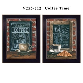 """Coffee Time"" Collection By Diane Weaver, Printed Wall Art, Ready To Hang Framed Poster, Black Frame"